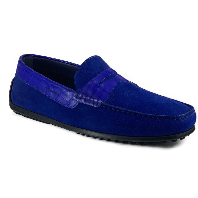 Zelli Monza Suede & Crocodile Driving Shoes Royal Image