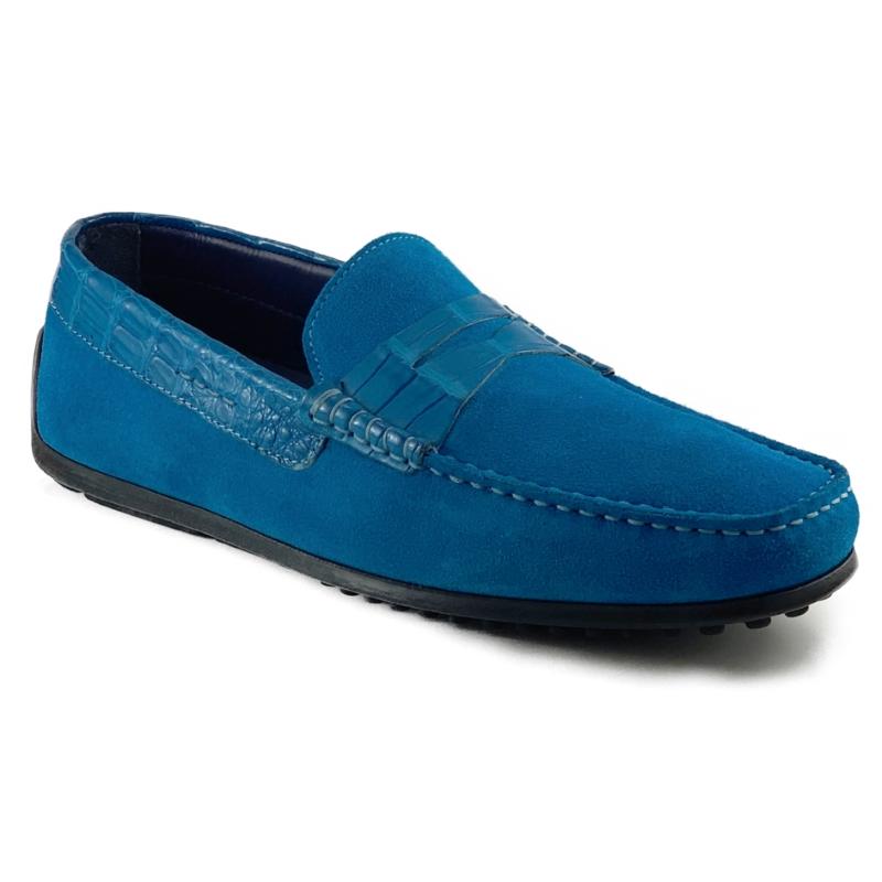 Zelli Monza Suede & Crocodile Driving Shoes Teal Image