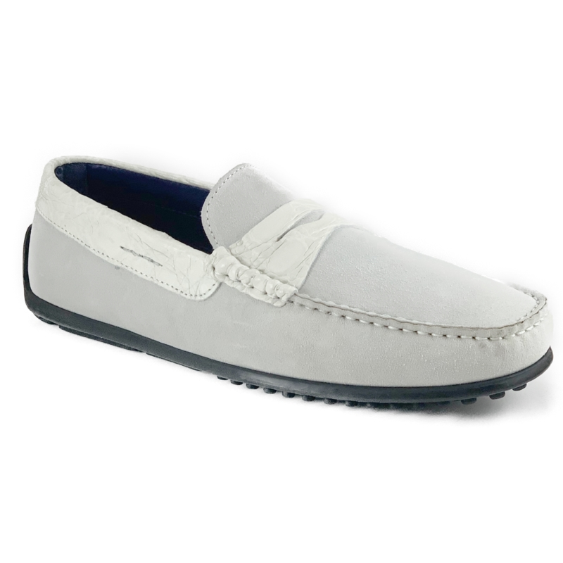 Zelli Monza Suede & Crocodile Driving Shoes White Image