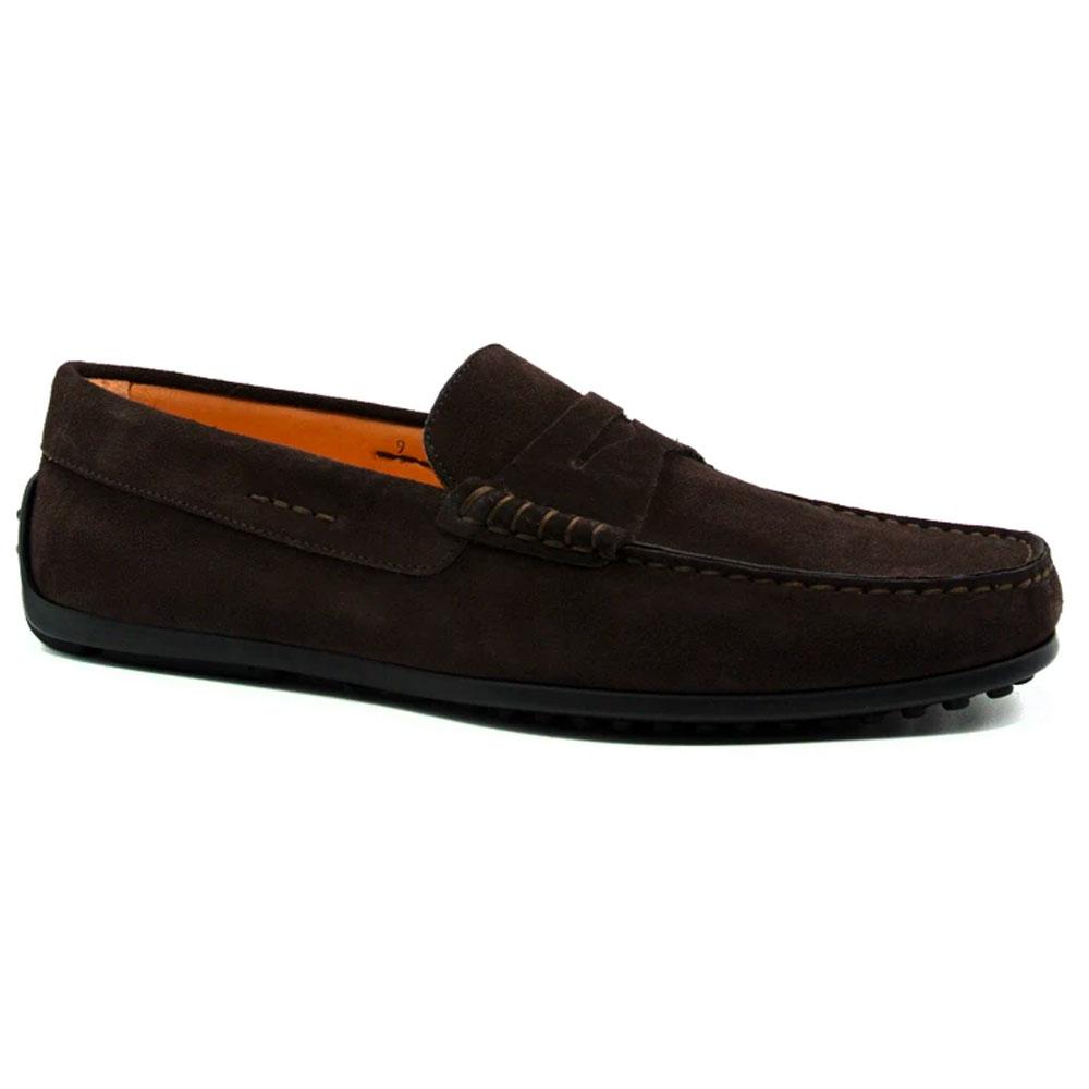 Zelli Monza Suede Driving Loafers Dark Brown Image