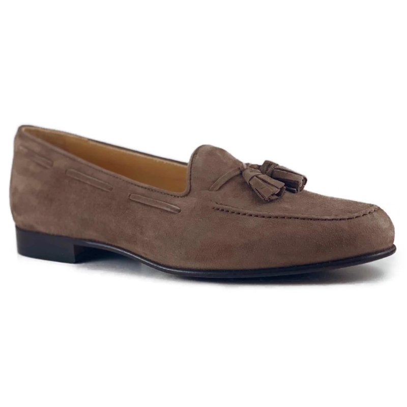 Zelli Naples Suede Tassel Loafers Mocha Image
