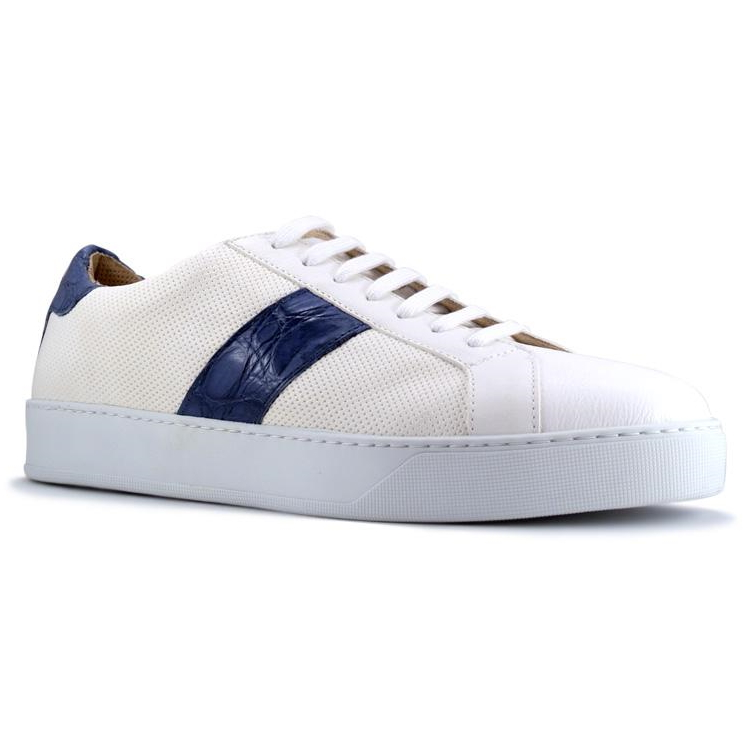 Zelli Olympias Calf & Crocodile Sneakers White / Navy Image