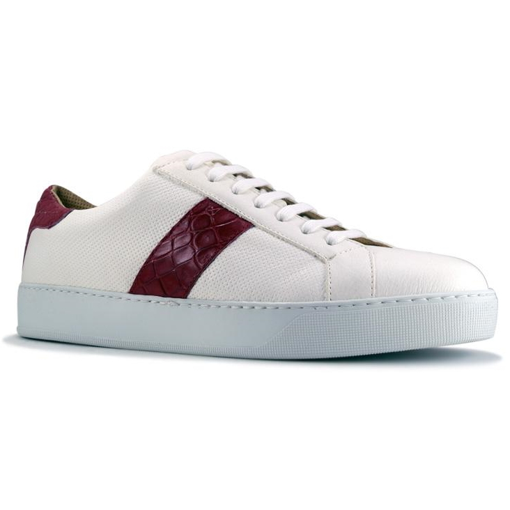 Zelli Olympias Calf & Crocodile Sneakers White / Red Image