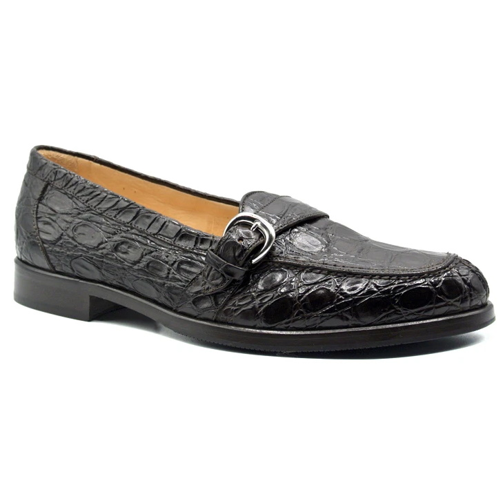 Zelli Orlando Crocodile Monk Strap Shoes Chocolate Image