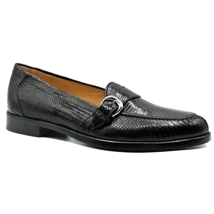 Zelli Orlando Lizard Monk Strap Shoes Black Image