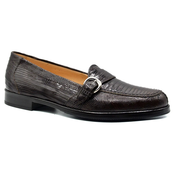 Zelli Orlando Lizard Monk Strap Shoes Brown Image