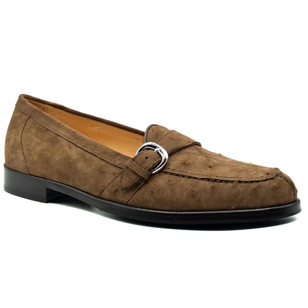 Zelli Orlando Ostrich Monk Strap Shoes Brown Image