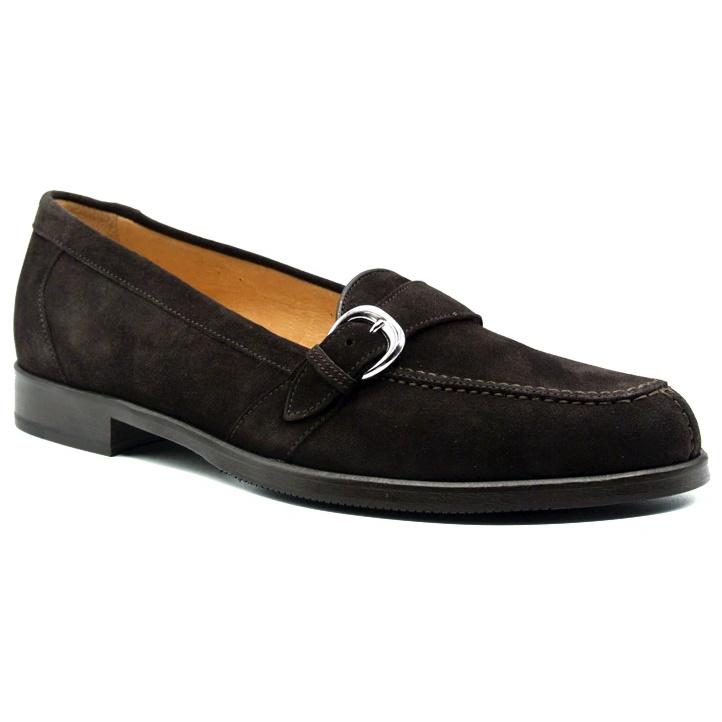 Zelli Orlando Suede Monk Strap Shoes Dark Brown Image