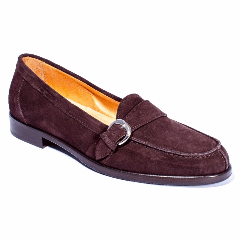 Zelli Orlando Suede Monk Strap Shoes Dark Brown Image