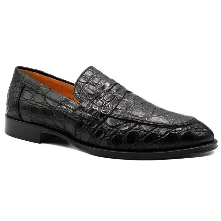 Zelli Remus Caiman Crocodile Loafers Black Image