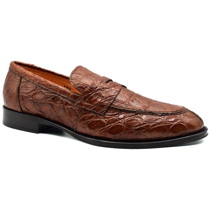 Zelli Remus Caiman Crocodile Loafers Cognac Image