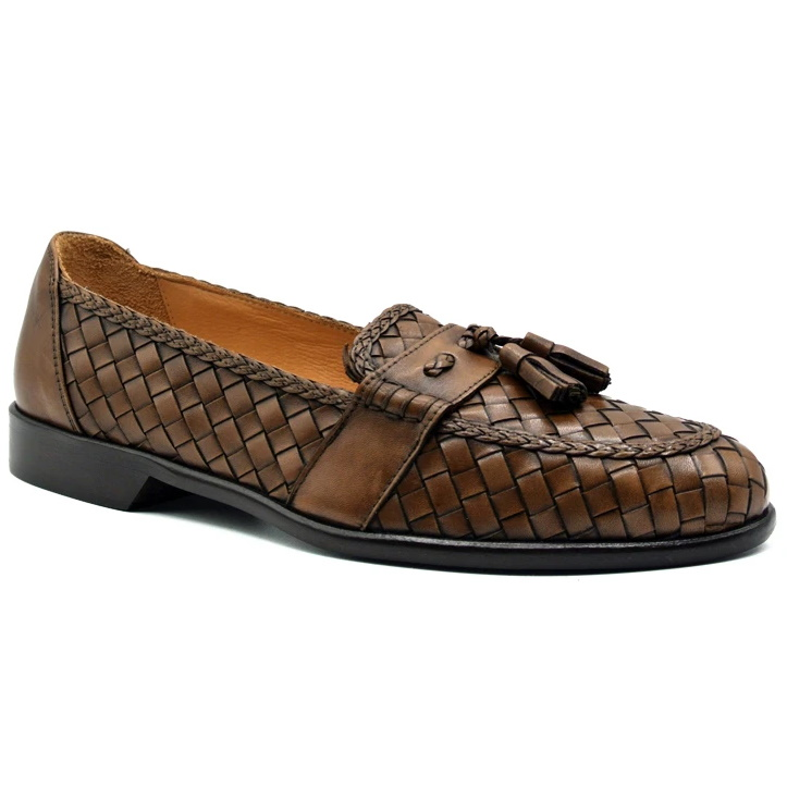 Zelli Riviera Woven Calfskin Tassel Loafers Brown Image