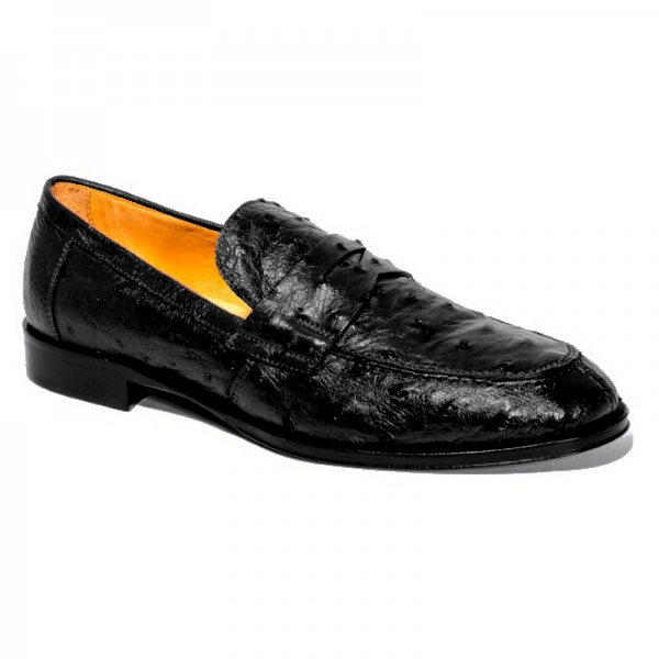Zelli Roma Ostrich Quill Penny Loafers Black Image