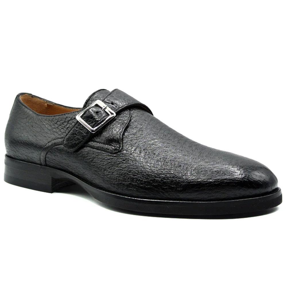 Zelli Roman Peccary Monk Strap Shoes Black Image