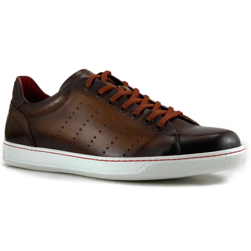 Zelli Russo Calfskin & Crocodile Sneakers Brown Image