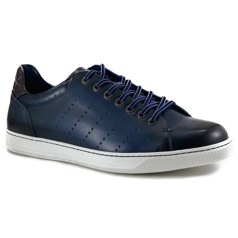 Zelli Russo Calfskin & Crocodile Sneakers Navy Image