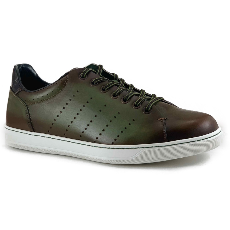 Zelli Russo Calfskin & Crocodile Sneakers Olive Image