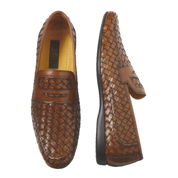 Zelli Domenico Woven Penny Loafers Brown Image