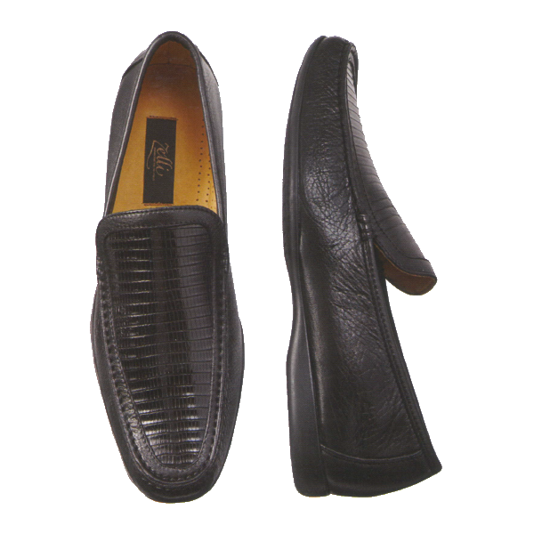 Zelli Trento Lizard & Calfskin Loafers Black Image
