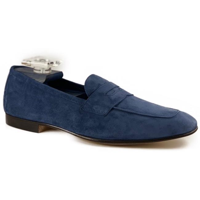 Zelli Tasca Suede Penny Loafers Blue Image