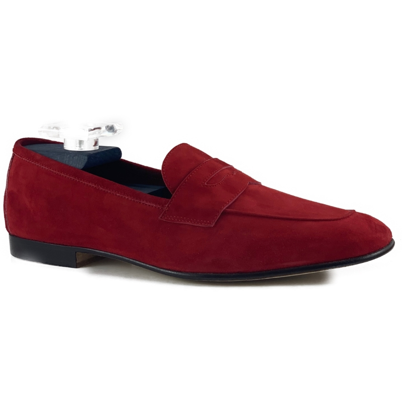 Zelli Tasca Suede Penny Loafers Red Image