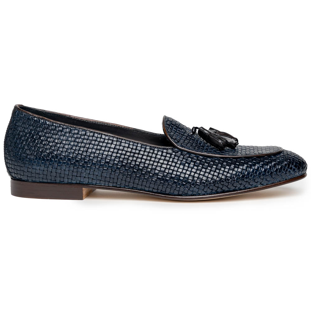 Zelli Tino Woven Tassel Loafers Blue Image