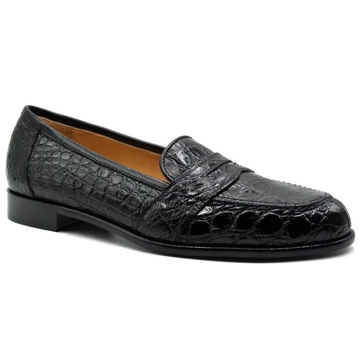 Zelli Tuscany Crocodile Penny Slip-On Black Image