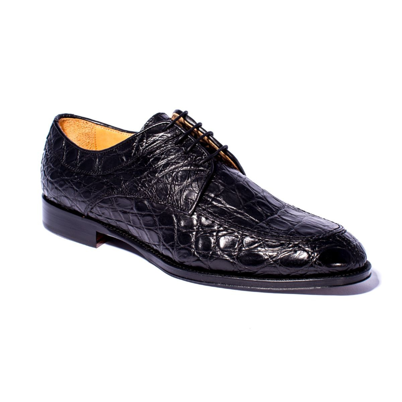 Zelli Verona Caiman Crocodile Dress Shoes Black Image