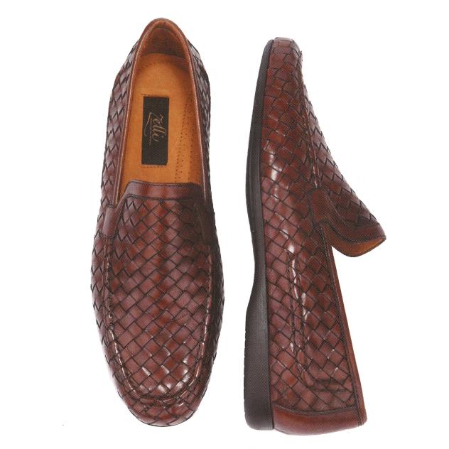 Zelli Alberto Calfskin Woven Shoes Brown Image