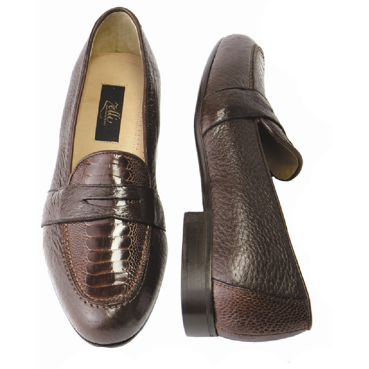 Zelli Perone Ostrich & Peccary Slip-On Brown Image