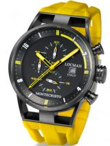 Locman Mens Monte Cristo Water Resistant Ceramic Coated Chrono Watch Yellow 510BKYLPVYL Image