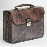 Massimiliano Stanco Barbera Hand Antiqued Gusset Briefcase Old Gray Image