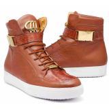 Mauri 8500 Crocodile / Patent / Nappa High Top Sneakers Cognac Image