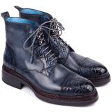 Paul Parkman Embossed Crocodile & Calfskin Captoe Boots Navy Image