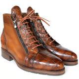 Paul Parkman Embossed Crocodile & Calfskin Side Zipper Boots Brown Image