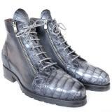 Paul Parkman Embossed Crocodile & Calfskin Side Zipper Boots Gray Image