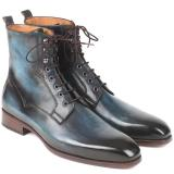 Paul Parkman Leather Boots Blue & Brown Image