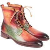 Paul Parkman Leather Boots Green Camel & Bordeaux Image
