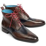 Paul Parkman Leather Wingtip Ankle Boots Dual Tone Brown & Blue Image