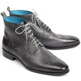 Paul Parkman Leather Wingtip Ankle Boots Hand-Painted Gray Image