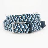 Torino Leather Italian Woven Cotton Belt Navy / Blue / Cream Image