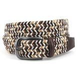Torino Leather Woven Italian Rayon Elastic Belt Brown Camel Image