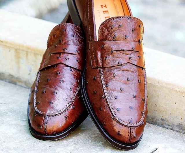 Zelli Roma Ostrich Loafers