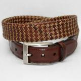 Torino Leather Big & Tall Italian Tubular Braided Kipskin & Cotton Belt - Cognac/Natural Image