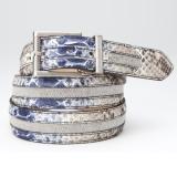 Mauri 103-35 Python & Linen Belt Blue / Brown Image