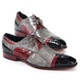 Mauri 4921 Stephen Alligator Dress Shoes Black / Grey / Red Image