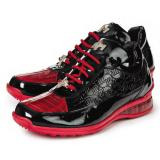 Mauri 8900-2 Bubble Patent Leather Embossed Baby Croc Sneakers Black / Red Image