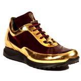Mauri 8900-2 Crocodile & Velvet Sneakers Burgundy / Gold Image