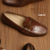 Mezlan Marconi Calfskin & Crocodile Loafers Cognac / Tan Image