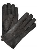 Moreschi Vail Genuine Peccary & Cashmere Gloves Black Image